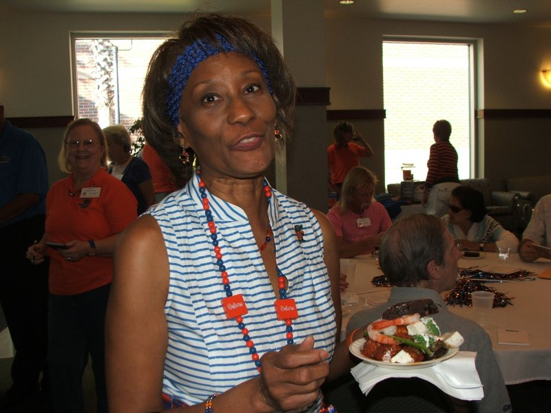 Member Shirley enjoying some delicious food!