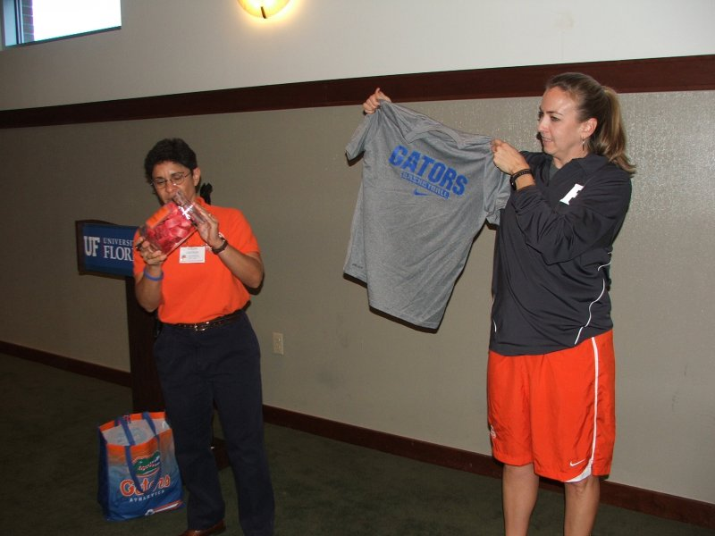 President Miriam and Coach raffle items