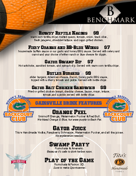Gator menu at Benchmark Sportsbar in Nashville