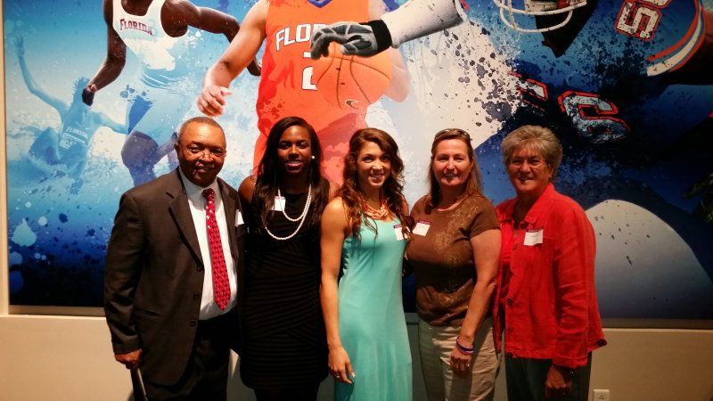 Representing women's basketball were Carlie Needles and January Miller.  Representing the Backcourt Club was Pres. Leslie White, Pres-elect, Cassie Macias and Vice-president,  Jackie Ayers.
