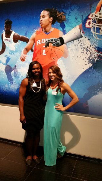Representing women's basketball were Carlie Needles and January Miller.